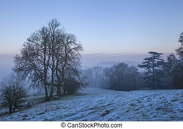 Cotswold landscape in winter, England.