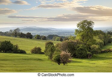 Cotswold Landscape, Gloucestershire, England - Looking...