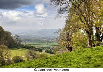 Cotswold landscape - View from Lidcombe Hill near Stanway,...