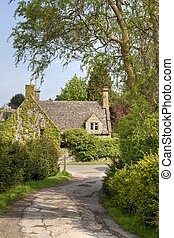 Cotswold cottage, Stanton - Looking down a lane towards a...