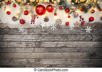 Christmas decoration placed on wooden planks. Copyspace for...