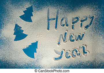 happy new year background. Text on flour