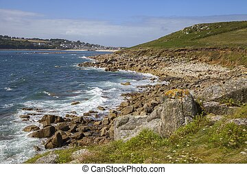 Looking towards Porthcressa Beach, St Mary's, Isles of Scilly, England