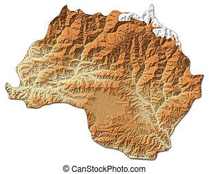 Relief map - Bagmati (Nepal) - 3D-Rendering