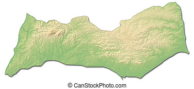 Relief map - Faro (Portugal) - 3D-Rendering - Relief map of...