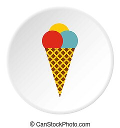 Mixed ice cream scoops in waffle cone icon. Flat...