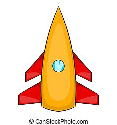Winged rocket icon, cartoon style - Winged rocket icon....