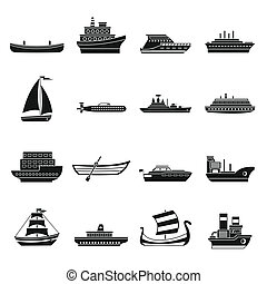 Sea transport icons set, simple style - Sea transport icons...