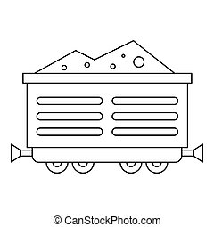 Train waggon with coal icon, outline style - Train waggon...