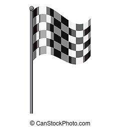 Style, isométrique, drapeau, icône,  chequered,  3D