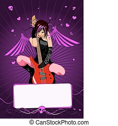 Vector girl with guitar and copy-sp