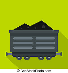 Train waggon with coal icon, flat style - Train waggon with...