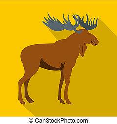 Moose icon, flat style - Moose icon. Flat illustration of...