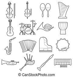 estilo, contorno, iconos, Conjunto, instrumentos,  musical