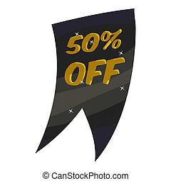 Tag fifty percent discount icon, cartoon style - Tag fifty...