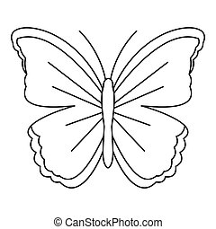 papillon, grand, icône,  Style, contour