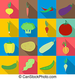 Vegetables icons set, flat style - Vegetables icons set....