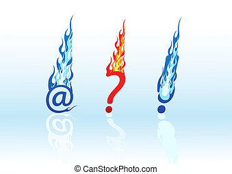 Vector set of fire symbols