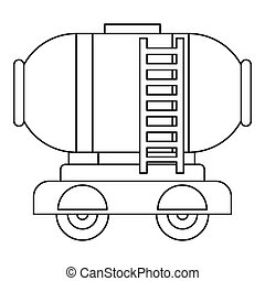 Waggon storage tank with oil icon, outline style - Waggon...