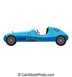 Blue sport car side view icon, isometric 3d style - Blue...