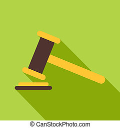 Judge gavel icon, flat style - Judge gavel icon. Flat...