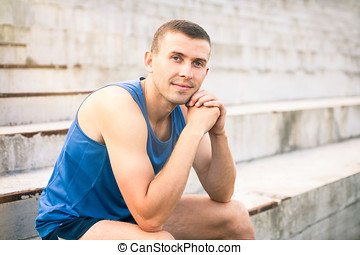 Portrait of a young man. - Portrait of a young man in a blue...