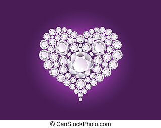 Vector diamond heart - Vector shiny diamond heart on purple...
