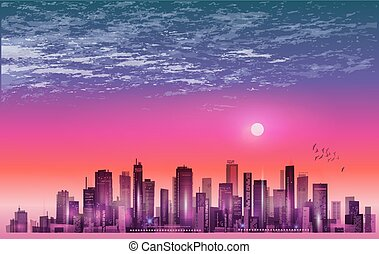 Modern night city skyline in moonlight or sunset, with reflectio