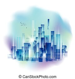 Modern night city skyline, with reflection on water surface