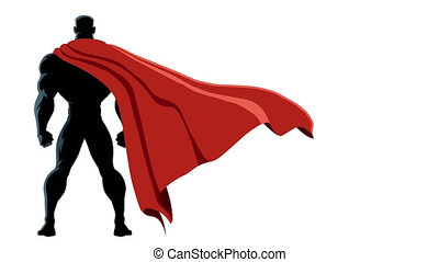 Superhero Back Isolated - Animation of superhero with alpha...