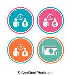 Bank loans icons. Cash money symbols. - Bank loans icons....