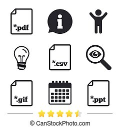 Document signs. File extensions symbols. - Download document...