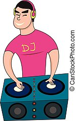 Illustration of a Male Disc Jockey