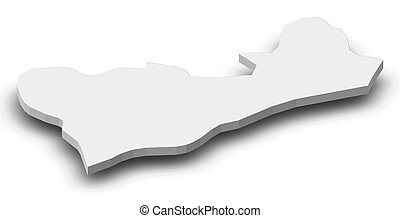 Map - Cova Lima (East Timor) - 3D-Illustration - Map of Cova...