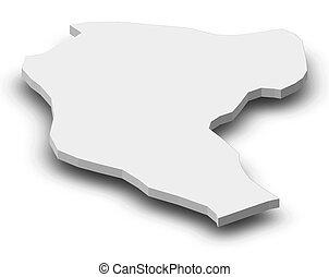 Map - Manatuto (East Timor) - 3D-Illustration - Map of...