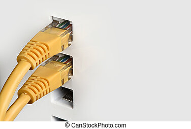 close up of Network switch, cables