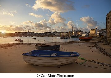 St Mary's Harbour at dawn, St Mary's, Isles of Scilly,...