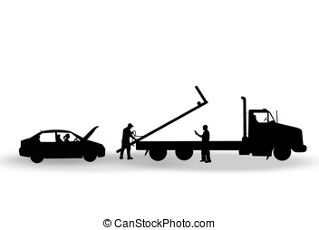 tow truck - illustration, silhouette of tow truck picking up...