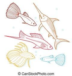 Set of sea and ocean fish.