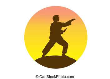 tai-chi - illustration, silhouette of man practicing tai-chi...