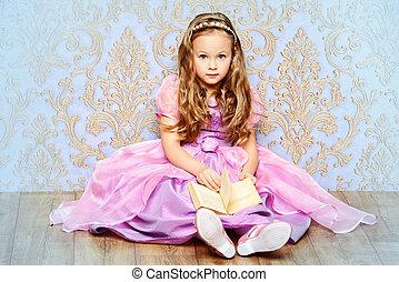Alice in Wonderland - Pretty little girl in beautiful...