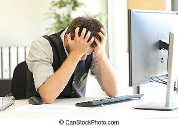 Depressed businessman after bankruptcy at office - Depressed...