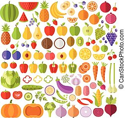 Fruits and vegetables flat icons set. Colorful flat design graphic elements collection. Vector icons, vector illustrations