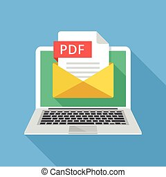 Laptop with envelope and PDF file. Notebook and email with...