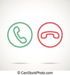 Phone call icons set. Trendy thin line design concept....