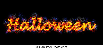 Fiery text \'Halloween\'.