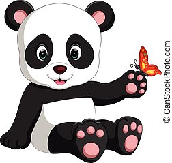 panda cartoon - illustration of panda playing with butterfly