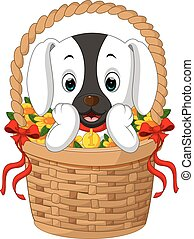 cute dog in a basket with red ribbon