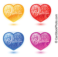 Set of vector floral hearts - Set of vector colorful floral...