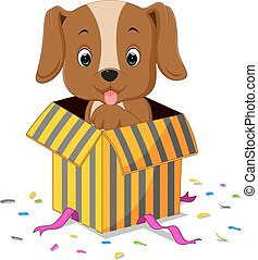 dog cartoon coming out of gift box